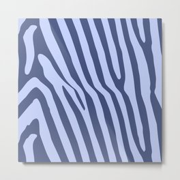 Blue Animal Stripes Metal Print