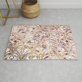 Dusty Rose and Coral Art Deco Marbling Pattern Rug