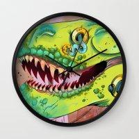 sci fi Wall Clocks featuring Sci-fi Dinosaur. by Rachel Alderson