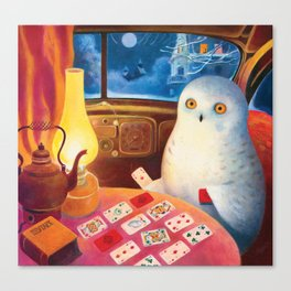 Snow Owl In The Old Car Canvas Print