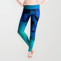 shower Leggings featuring INVITE TO BLUE by Catspaws