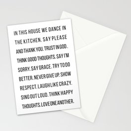 In This House We Dance In the Kitchen. Say Please and Thank You. Trust In God… Stationery Cards