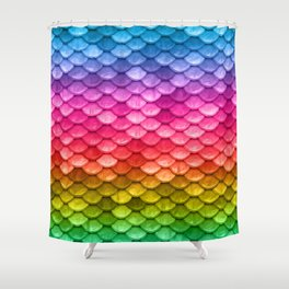 Rainbow fantasy colorful mermaid fish Scales Shower Curtain