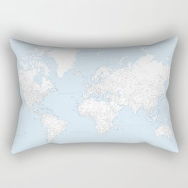 World map, highly detailed in light blue and white, square Rectangular Pillow