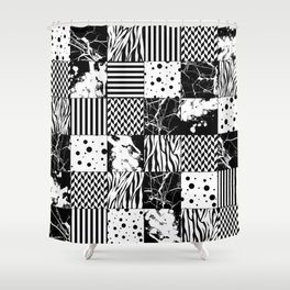 Eclectic Black and White Squares Shower Curtain