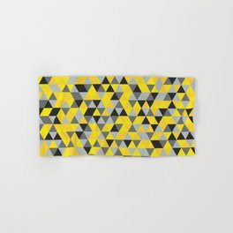Sunny Yellow and Grey / Gray - Hipster Geometric Triangle Pattern Hand & Bath Towel