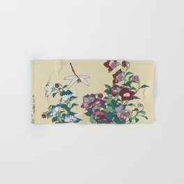 Hokusai (1760-1849) Bell-flowers and Dragonfly Hand & Bath Towel