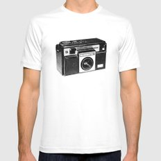 Retro Camera Sketch B/W SMALL Mens Fitted Tee White