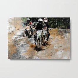 Oncoming! - Motocross Racers Metal Print