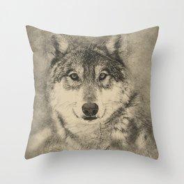 Timber Wolf Pencil Illustration Throw Pillow