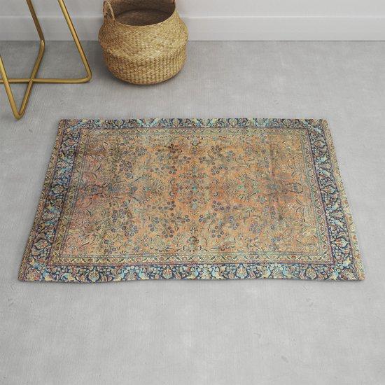Kashan Floral Persian Carpet Print by vickybragomitchell