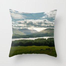 Lake in scottish Highlands Throw Pillow