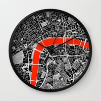 london map Wall Clocks featuring London Map by Dizzy Moments