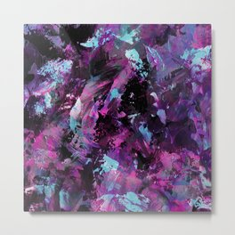 Dark Necessities - Abstract, textured, blue and purple oil painting Metal Print