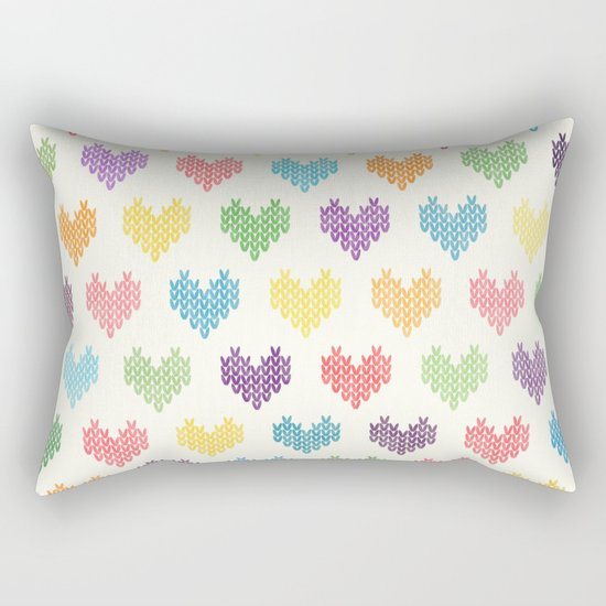 Colorful Knitted Hearts II Rectangular Pillow