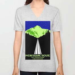 Mont Blanc Alps railway route Unisex V-Neck