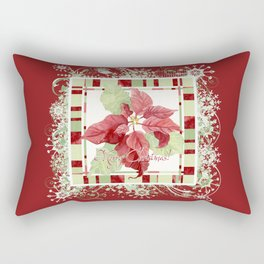 Modern Striped Poinsettia Christmas Floral Holiday Winter Rectangular Pillow