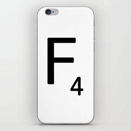 Letter F - Custom Scrabble Letter Tile Art - Scrabble F iPhone Skin