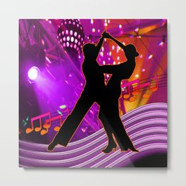 Tango Dancers With Stage Lights Neon Colors Metal Print