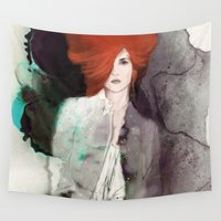 fashion illustration Wall Tapestries featuring FASHION ILLUSTRATION 11 by Justyna Kucharska