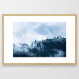 Blue Foggy Rocky Mountains Colorado USA Adventure Framed Art Print