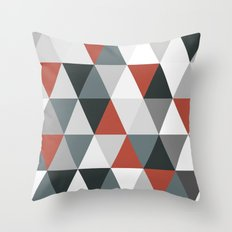 Big triangles red and grey Throw Pillow