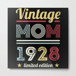 Vintage Mom 1928 100th Birthday Gift Women Retro Metal Print