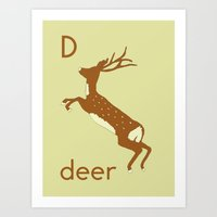 D is for Deer Art Print
