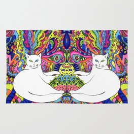 Psychedelic White Cat Rug