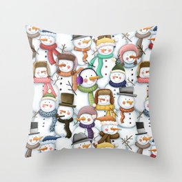 Happy Snowmen Pattern Throw Pillow