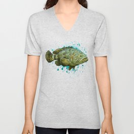 """Goliath Grouper"" by Amber Marine ~ Watercolor Painting, (Copyright 2015) Unisex V-Neck"