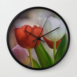 Two Tulips on a pastel background Wall Clock