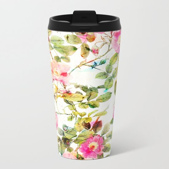 soft pink rosebush Metal Travel Mug