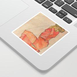 Egon Schiele - Kneeling Female in Orange-Red Dress Sticker