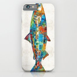 Fish Art Print - Colorful Salmon - By Sharon Cummings iPhone Case