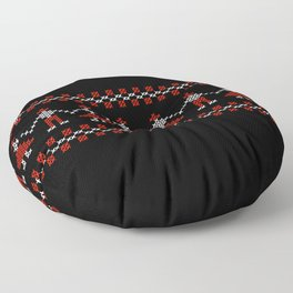 Traditional Hora people cross-stitch row black Floor Pillow