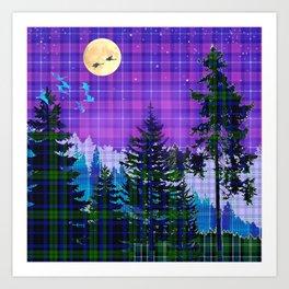 Moonlit Plaid Forest Art Print