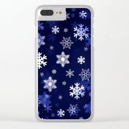 Dark Blue Snowflakes Clear iPhone Case