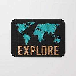 World Map - Teal and Copper Explore Globe Bath Mat
