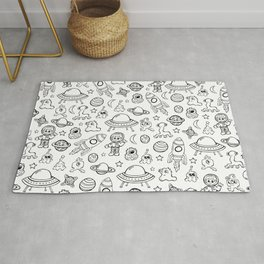 Space Print, Black and White pattern, Alien Illustration, Outer Space, Rocket Ship Rug