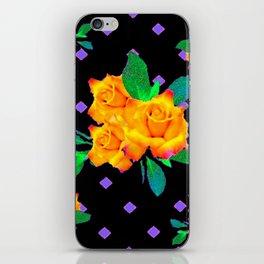 Black & Violet Golden Roses Pattern iPhone Skin