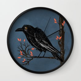 Raven On A Cold And Rainy Day Wall Clock