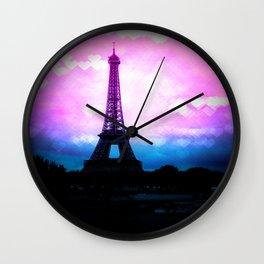 Paris Eiffel Tower Pink & Blue Wall Clock