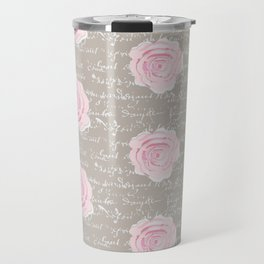 Watercolor roses on Taupe with French script Travel Mug