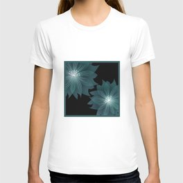 Blue flower on a black background . T-shirt