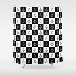 Freemason Checkered Pattern Shower Curtain