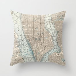 Vintage Map of New York City (1893) Throw Pillow