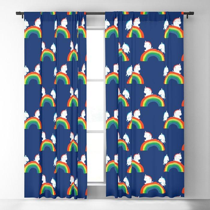 Unicorn on rainbow slide Blackout Curtain