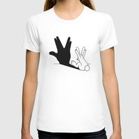 novelty T-shirts featuring Rabbit Trek Hand Shadow by Mobii