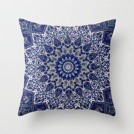 N33 - Blue Andalusian Bohemian Moroccan Mandala Artwork. Throw Pillow